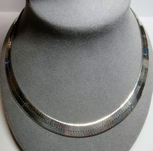 """LARGE 10.9mm Sterling Silver Beveled Herringbone Chain 24"""" Necklace 57.2... - $98.01"""