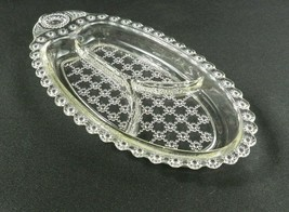 Vtg Hazel Atlas Divided Relish Tray Clear Glass Beaded Jewel Flower Floral - $10.88