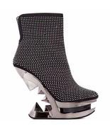 "Hades MONROE Black Studded Ankle Boots Chrome Wedge Pyramid 5"" Heels Boo... - $142.00"