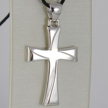 750 White Gold Cross 18k Pendant, Square, carved, stylized, Made Italy image 1