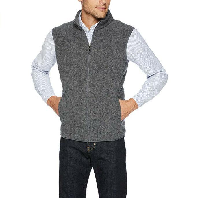 Amazon Essentials Men's Lightweight Full-Zip Charcoal Polar Fleece Vest 2XL