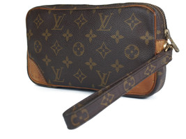 LOUIS VUITTON Marly Dragonne PM Monogram Canvas Leather Pochette Clutch Bag - $189.00