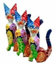 Balinese Wood Handicrafts Colorful Feline Cat Family Set of 3 Decor Figu... - $26.99