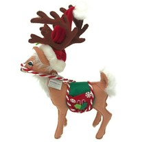 """2007 Annalee Mobilitee Christmas Doll 12"""" Peppermint Reindeer Holiday Decor - $26.14"""