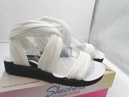 Skechers Cali Women's Meditation-Still Sky Flat Sandal White 6 W - $26.60