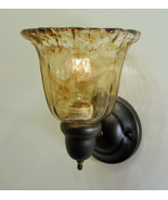 1 Light Bronze Finish Handmade Art Glass Wall Sconce on off switch Cabin... - $57.00