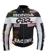 CBR HONDA BLACK MOTORBIKE MOTORCYCLE GENUINE COWHIDE LEATHER ARMOURED JA... - $194.99