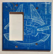 Star Wars Millennium Falcon Blueprint Switch Outlet wall Cover Plate Home Decor image 6