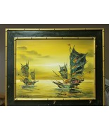Mid Century Acrylic on Canvas, Chinese Junk Boat, Signed,Faux Bamboo Frame,Water - $75.00