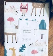 Pottery Barn Kids Willa Woodland Sheet Set Pink Twin Deer Owl Fox Organic - $89.00