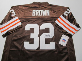 JIM BROWN / NFL HALL OF FAME / AUTOGRAPHED CLEVELAND BROWNS THROWBACK JERSEY COA