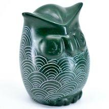 Tabaka Chigware Hand Carved Kisii Soapstone Green Owl Figurine Handmade in Kenya image 5