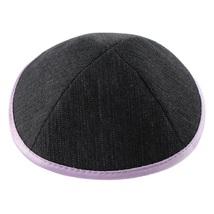 Denim Jean Black Kippah Purple Rim Pin Spot Judaica 17 cm Israel Tradition
