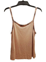 NWT NEW Women Carmen Marc Valvo Pink Beaded Spaghetti Strap Tank Top Size L $255 image 6