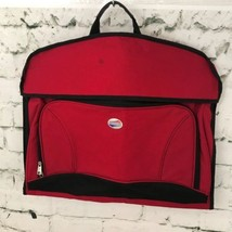 American Tourister Foldable Garment Bag Red Travel Suit Zippered Storage... - $39.59