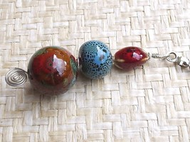 Handcrafted Beaded Ceramic Ceiling Fan Pull Porcelain Brown Blue Red - $9.65