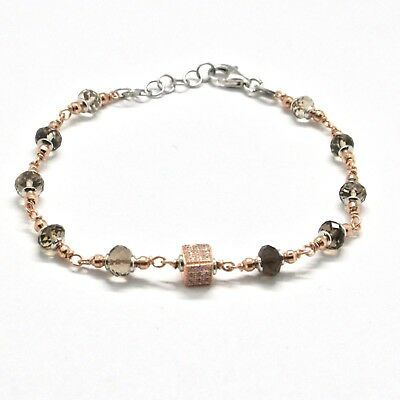 Silver Bracelet 925 Laminated in Rose Gold with Quartz Smoky and Zircon Cubic