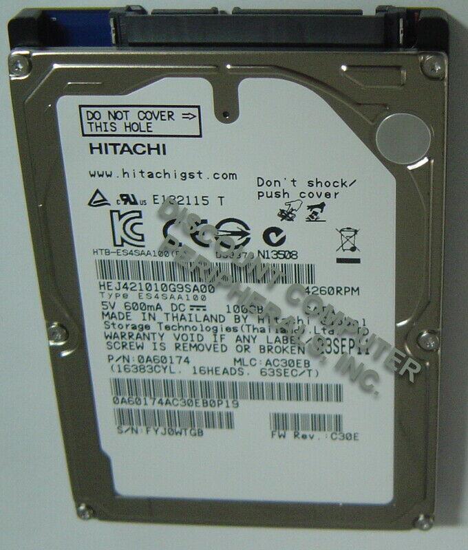 "NEW 100GB Hitachi SATA 2.5"" hard drive HEJ421010G9SA00 Free USA Shipping"