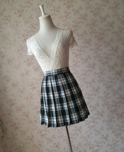 Black and White Plaid Skirt Mini Pleated Plaid Skirt Outfit A-line High Waisted image 6