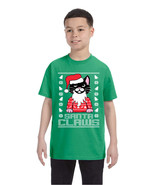 Kids Youth T Shirt Santa Claws Cat Ugly Xmas Cute Holiday Tee - $18.94
