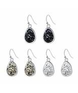 Teardrop Druzy Earring Dangles Silver Plating Boho Jewelry with Black Gr... - $13.11