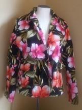 Carribean Joe LARGE blazer jacket  Floral Button Front Hawaiian style used - $14.84
