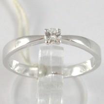 White Gold Ring 750 18K, Solitaire, Shank Square, Diamond, Carat 0.10 image 1