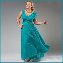Chiffon Formal Ankle Length Sleeveless Empire Waist V Neck Aqua Evening Gown