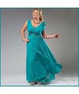 Chiffon Formal Ankle Length Sleeveless Empire Waist V Neck Aqua Evening ... - $119.95