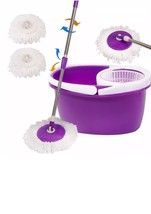 Easy Magic Floor Mop 360° Bucket 2 Heads Microfiber Spin Spinning Rotati... - $12.84