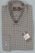 NEW $245 Hickey Freeman Shirt!  17 Long (36)  Brown with Black & White Plaid - $89.99