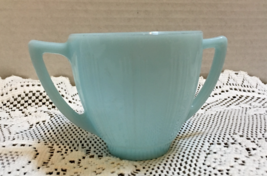 Vintage Pyrex Turquoise Blue Sugar Bowl W/Double Handles Blue Milk Glass... - $13.00