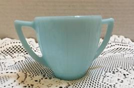 Vintage Pyrex Turquoise Blue Sugar Bowl W/Double Handles Blue Milk Glass... - $13.00