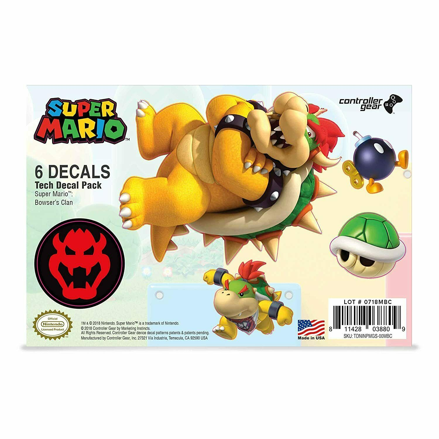 Controller Gear Super Mario Bros. Tech Decals Pack (Set of 6) - Bowser Pack
