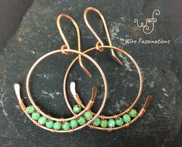 Handmade copper earrings: spiral hoops with wire wrapped faceted turquoi... - $28.00