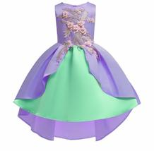 Sexy Purple Satin Embroidery Short Flower Girl Dress  Sleeve Formal  Par... - £19.62 GBP