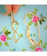 14k Gold Plated Earrings Infinity Drop Dangle High Quality Warranty - $28.04