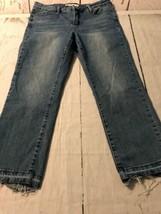 Anne Klein Women's Jeans Slim Leg Crop Raw Hem Stretch Size 4 X 27 - $26.73