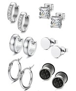 Jstyle 6 Pairs Stainless Steel Stud Earrings for Women Mens Huggie Hoop ... - $10.15
