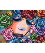 Roses face abstract painting original art woman makeup flowers makeup li... - $29.99
