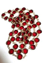 VINTAGE AUSTRIAN CRYSTAL RED LONG OPERA LENGTH NECKLACE - $85.00