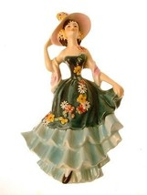 Vintage Goebel figurine lady with bonnet and green dress  - $104.39