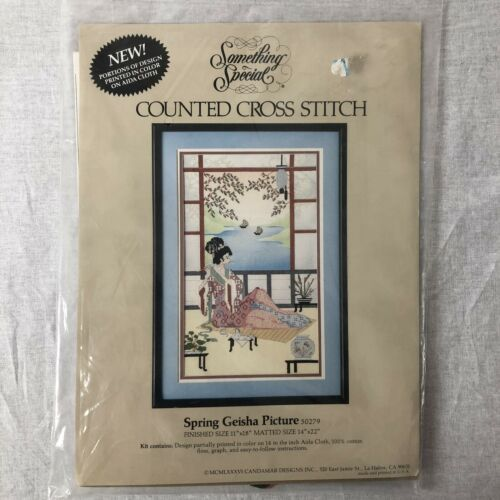 Counted Cross Stitch Kit Spring Geisha Picture 50279 Candamar Designs New 1988
