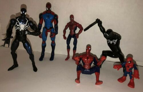 Spider-Man Lot of 6 Action Figures 2005 2006 Marvel Symbiote Comics Black Suit