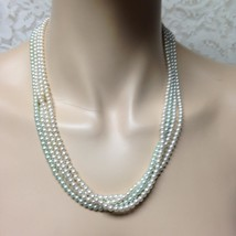 Vintage, 4 strands of Seed White and Green Pearls with Silver Chain Neck... - $9.45