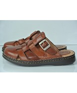 BORN Womens Sz 6 Brown Leather Slip-on Mules Clogs Flats NICE!! - $23.75
