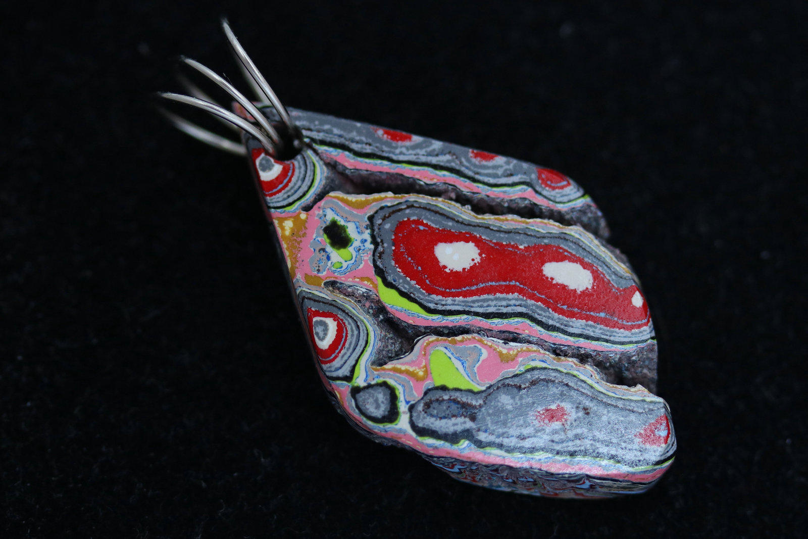 Primary image for Fordite pendant, red yellow pink lime green light blue maroon black, nickel twir