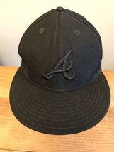 Atlanta Braves Baseball Cap Size 7.5 Black A's Hat New Era 59FIFTY Wool - $12.86