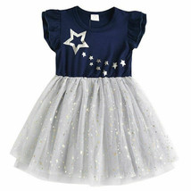 NEW Silver Star Girls Blue Short Sleeve Tutu Dress 4-5 5-6 6-7 7-8 4th o... - $16.99