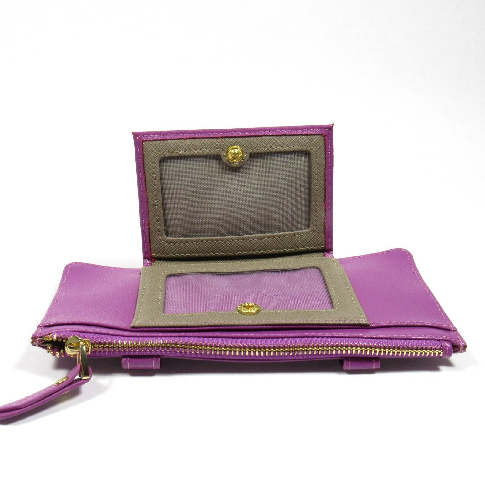 Neiman Marcus Women's ID Wallet Organizer Card Case Saffiano Leather. Lavender